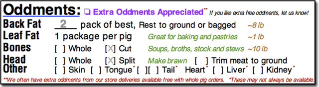 Oddments Section of Cut Sheet Order Form
