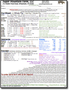Whole, Half, Quarter Pig Order Form Cut Sheet